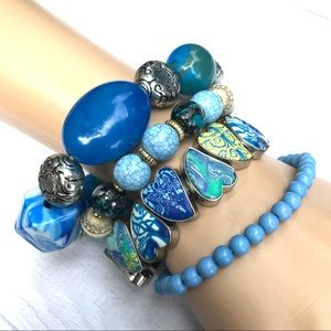 Blue bundle lot bracelets beads strand charm heart